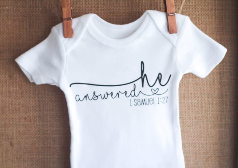 1 Samuel 1:27 Pregnancy Keepsake Gift He Answered Baby Bodysuit Religious Pregnancy Announcement