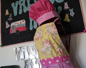 "Women's ""Lucy"" cooking apron and chef hat. Grooves Apron Line, by Allison."