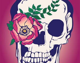 Skull with flower print