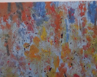 """Original oil painting on cotton canvas colorful splatter signed by artist V. Anstey 12 X 16"""""""