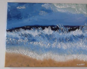 """Original oil on canvas painting ocean waves on beach landscape signed by artist V. Anstey size 11"""" X 14"""""""