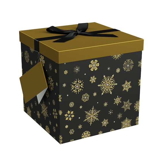 Gift Ideas Christmas Gift Box Ribbon No GlueTape Required and Tissue Paper Gift Tag Gift Box with Lid Starlight 10x10x10