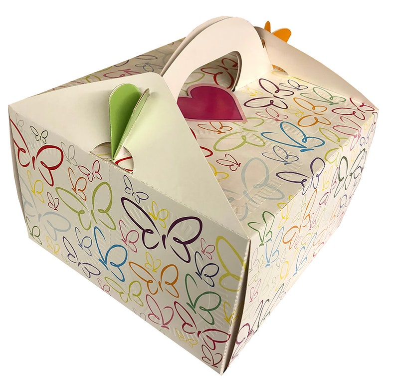 Birthday Cake Box Dessert Box Valentines Day Gift 12 Disposable Plates and Forks Included Set of 2 Cake Boxes for Birthday