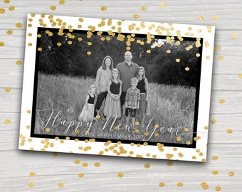Gold and Black New Year Photo Card