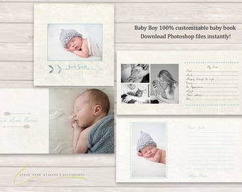 Customizable baby boy baby book for photographers, instantly download Photoshop files