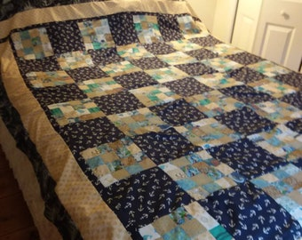 Nautical dreams, twin size quilt / daybed  or queen topper.