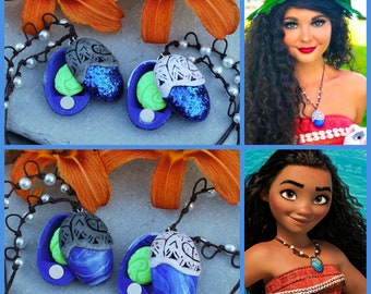 Moana Necklace open/close with removable heart of Te Fiti/ Vaiana necklace opening version with heart of Te Fiti removable