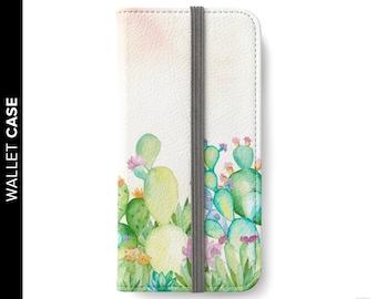Watercolor Cactus iPhone Wallet Case, Cactus Wallet Case, iPhone 7 Case, Samsung Wallet Case, Cactus Wallet Case, iPhone 8 Wallet Case,