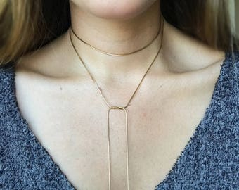 Simple gold choker necklace, Gold choker layer, Gold lariat, Gold chain wrap necklace, Boho girlfriend gift