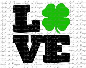 Lucky Love, St. Patrick's Day, SVG, DXF, PDF