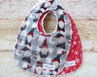 Baby Bibs - Christmas Gnomes Bibs - Red Snowflakes Bib - Christmas Bibs - Chenille Bibs - Dribble Bibs - Feeding Bibs - Teething Bibs - Gift