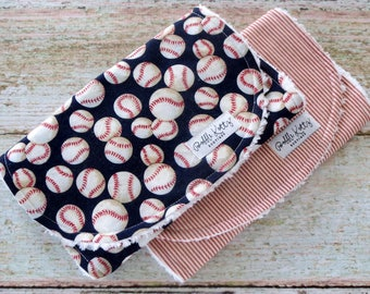 Burp Cloths - Baby Boy Burp Cloths - Baseball Burp Cloth - Red Stripe Burp Cloth - Chenille Burp Cloths - Baby Shower Gift - Christmas Gift