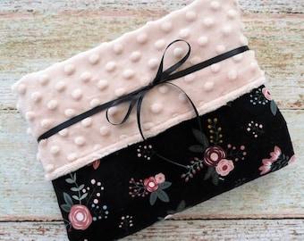 Baby Blanket - Minky Blanket - Baby Girl Blanket - Floral Blanket - Blush Pink Minky Blanket - Black Baby Blanket - Crib Blanket - Stroller