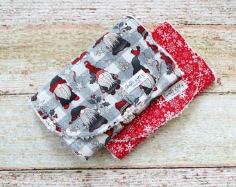 Burp Cloths - Christmas Gnomes - Silver Snowflakes - Chenille Burp Cloths - Baby Shower Gift - First Christmas - Christmas Gift - Baby Gift