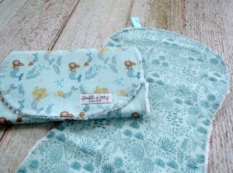 Baby Girl Burp Cloths Sea Life Burp Cloth Mermaid Burp Cloth Baby Shower Gift Nautical Burp Cloths Baby Burp Cloths