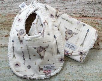 Baby Bib and Burp Cloth - Bohemian Bib and Burp Cloth - Baby Girl Bib and Burp Cloth - Floral Bib and Burp Cloth - Arrow Bib and Burp Cloth