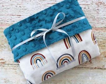 Baby Blanket - Gender Neutral Baby Blanket - Minky Blanket - Rainbow Minky Blanket - Jewel Tone Minky Blanket - Dimple Dot Blanket - Gift