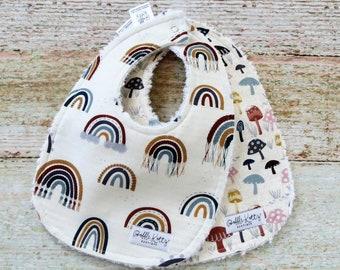 Baby Bibs - Gender Neutral Baby Bibs - Jewel Tone Baby Bibs - Rainbow Bibs - Mushroom Bibs - Chenille Baby Bibs - Baby Shower Gift