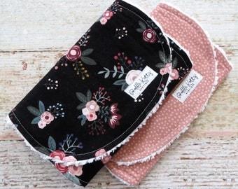 Burp Cloths - Baby Girl Burp Cloths - Floral Burp Cloths - Mauve Burp Cloths - Polka Dot Burp Cloths - Chenille Burp Cloths - Baby Gift