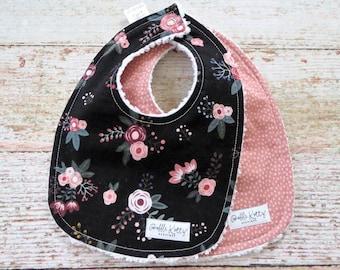 Baby Bibs - Baby Girl Bibs - Floral Bib - Black Floral Bib - Mauve Bib - Mauve Polka Dot Bib - Chenille Bibs - Baby Shower Gift