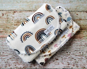 Burp Cloths - Gender Neutral Burp Cloths - Jewel Tone Burp Cloths - Rainbow Burp Cloth - Mushroom Burp Cloth - Chenille Burp Cloths