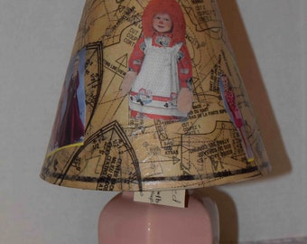 Small table lamp with a decoupaged shade