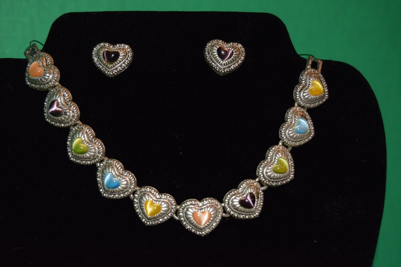 Sliver plated Heart Bracelet and earring set multi-colored image 0