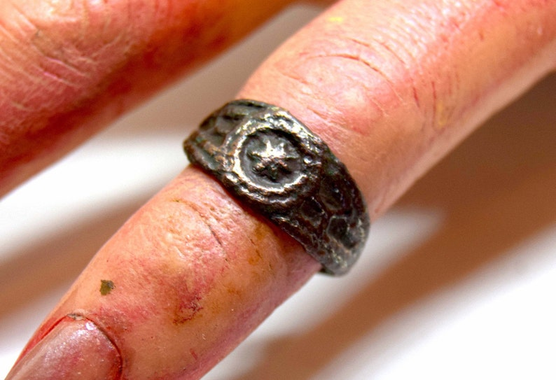 Medieval Europe  12th-15th century AD. Neat bronze ring with image 0