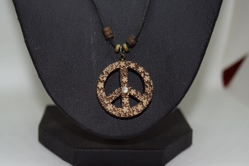 Laser cut wood Peace Sign necklace with wood beads  image 0