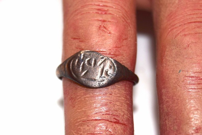 Roman Signet Ring  Engraved cast Bronze 2nd to 3rd Century image 0
