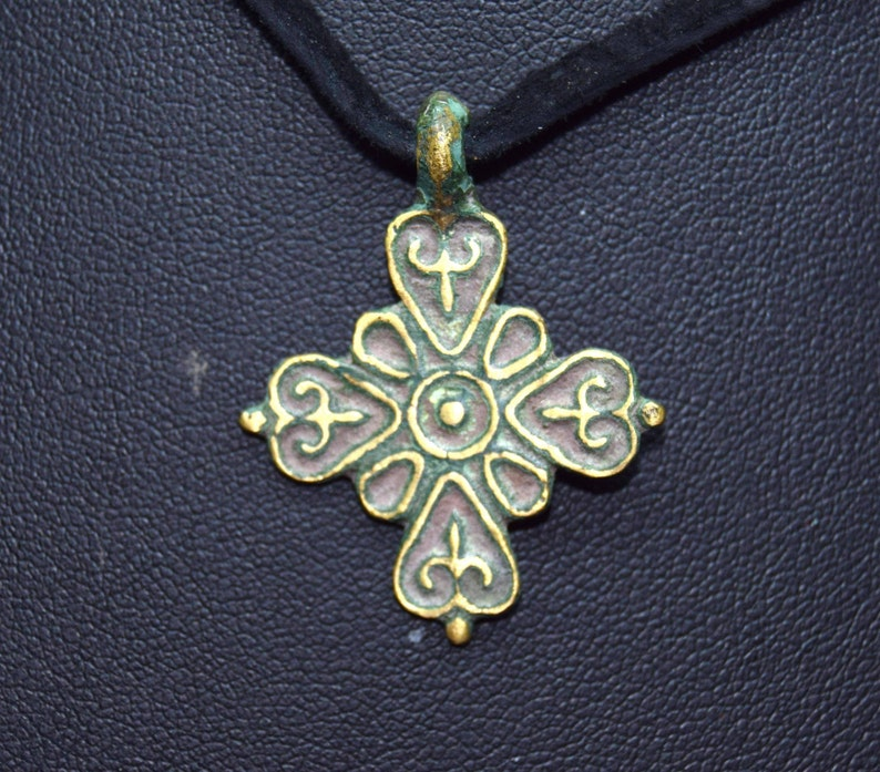 Vintage Celtic Cross  brass and enamel  two sided image 0