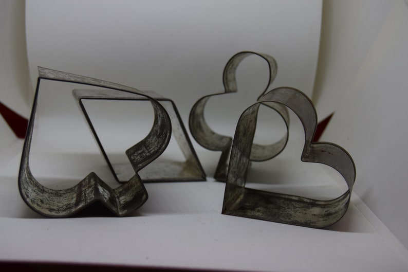 Vintage Cookie Cutters  set of 4   card suits. heart club image 0