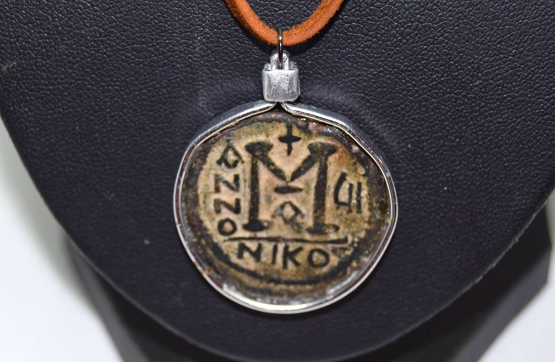 Byzantine Folis Coin necklace   565-578 AD.   Justin II and image 0