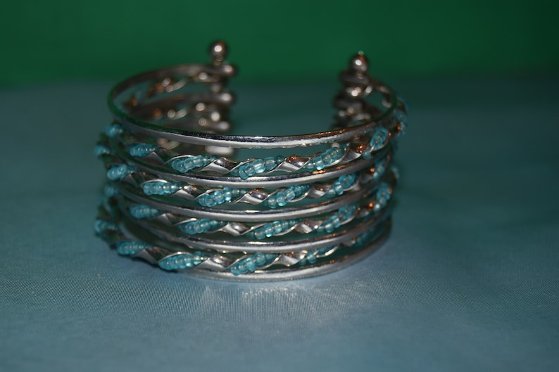 7 Inch Cuff Bracelet with aqua bead accents image 0