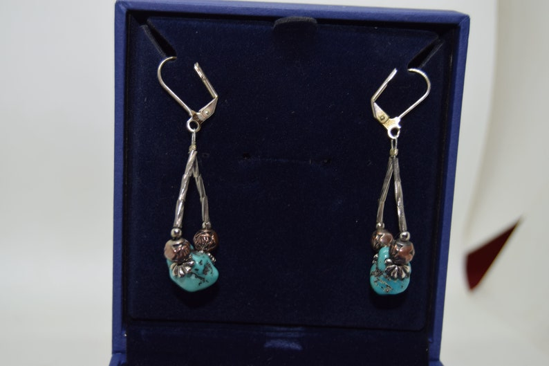 Native American Jewelry Silver and turquoise bead earrings. image 0