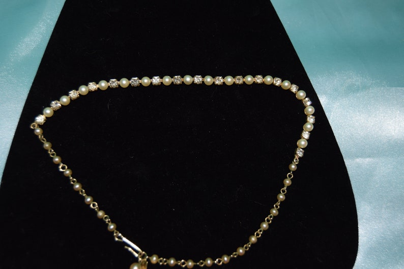 Imitation pearl CZ and gold filled necklace  18 inch image 0