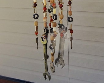 Tools of the Trade ** Wind Chime. Unique, One of a Kind, Handmade, Beaded, Repurposed, Recycled