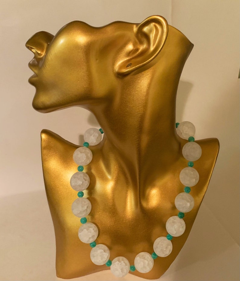 Gift For Her,Free Shipping Semi Precious White Crackle Round Quartz And Blue Aqua Semi Precious Beaded Necklace Beaded Necklace