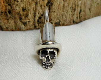 Cool Art Unique Solid Handcraft Sterling Silver  Top Hat Skull Charm,Top Hat  Skull Charm Charm,Skull Charm,Personalized Gifts,Gift For Him