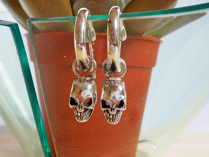 Sterling Silver Skull Earrings Halloween Skull Earrings Men Silver Stitched Skull Earrings Wounded Skull Jewelry Bone Hoop Earrings