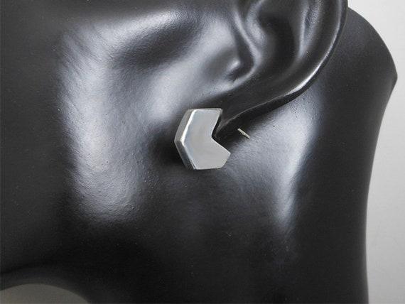 Silver Bangle Bracelet Unique Chunky Square Shape Concave Design Silver 925 SP