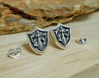 Sterling Silver Sword Shield Earrings,Knight Shield Earring,Knight Earring,Shield Earring,Piercing Earrings,Personalized Gifts,Gifts For Him