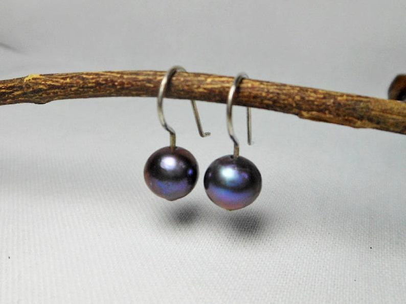 Sample Women Sterling Silver Black Pearl Hook Earrings,Pearl HooK Earring,Black Pearl Earring,Personalized Gifts,Gift For Her,Ball Earrings