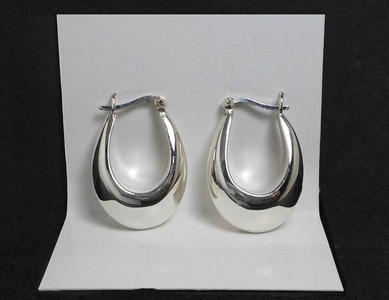 Sterling Silver Hoop Earrings Silver Oval Earrings Handmade  9396422a75