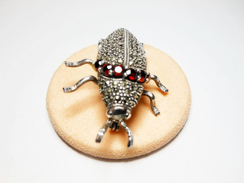 Holiday Gifts for Her Garnet and Marcasite Jewelry 925 Sterling Silver Jewelry Bug Brooch Beetle Pin Silver Beetle Pin