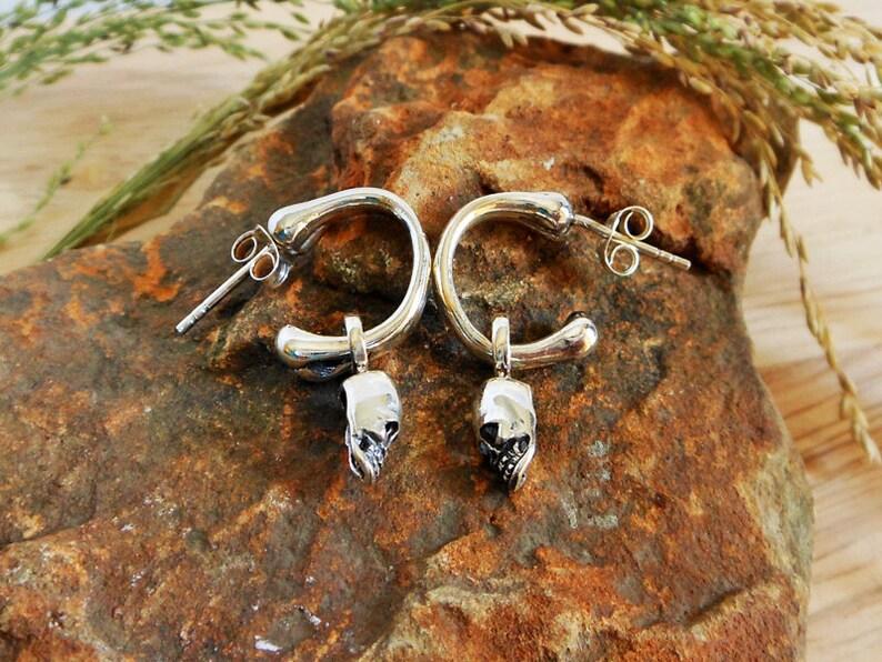 Unisex Jewelry Men Silver Skull Hoop Earrings Alien Skull Oxidized Earrings Sterling Silver Hoop Earrings Silver Halloween Earrings