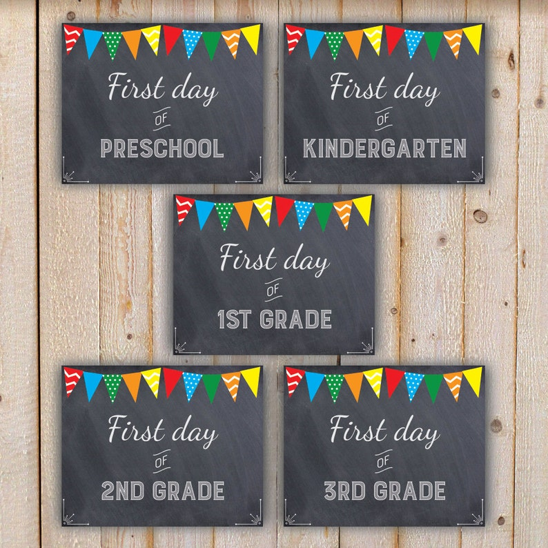 First Day of School Printable Grade Signs with banners INSTANT DOWNLOAD  Chalkboard Preschool, Kindergarten, 1st-12th and college, no dates