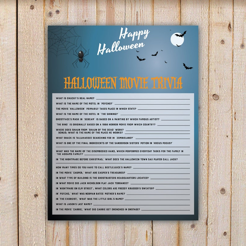 Halloween Movie Trivia Party Game - with spider and bats - Adults, Puzzle,  Printable, DIY INSTANT DOWNLOAD