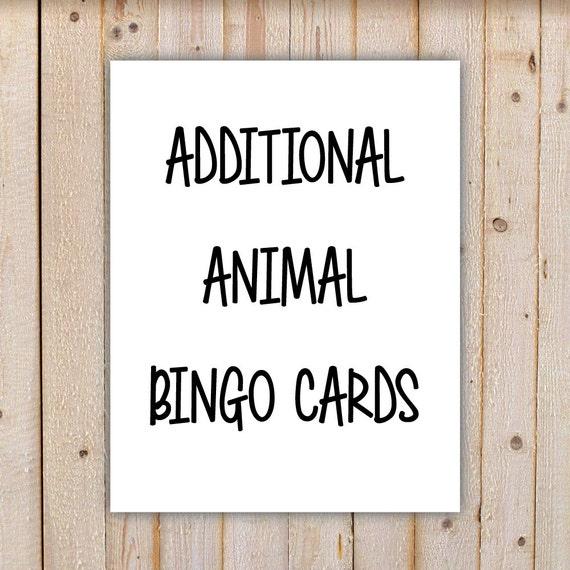 10 zusätzliche Tier Bingo Spiel Karten druckbare INSTANT