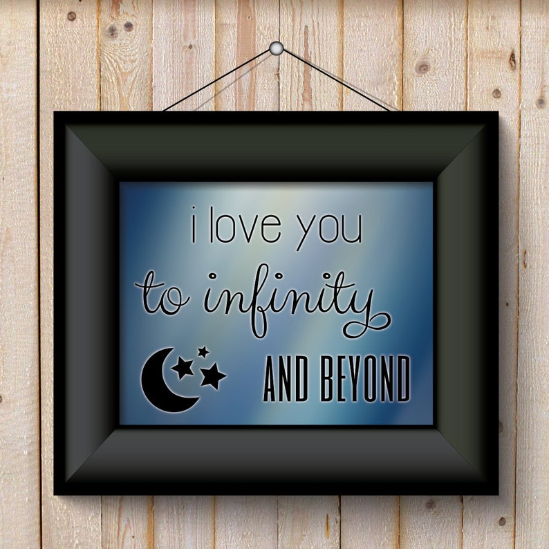 I Love You To Infinity And Beyond blue background Wall Art ...